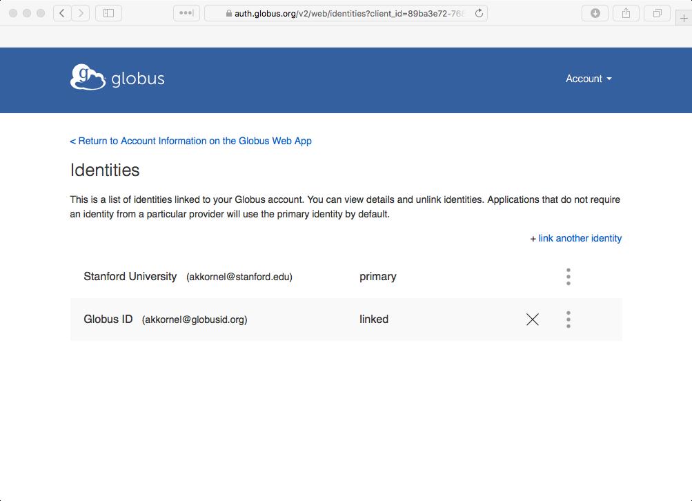 Globus account identities screen