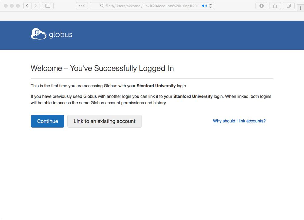 First-time login screen