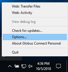 The pop-up menu that appears when right-clicking on the Globus icon in the toolbar