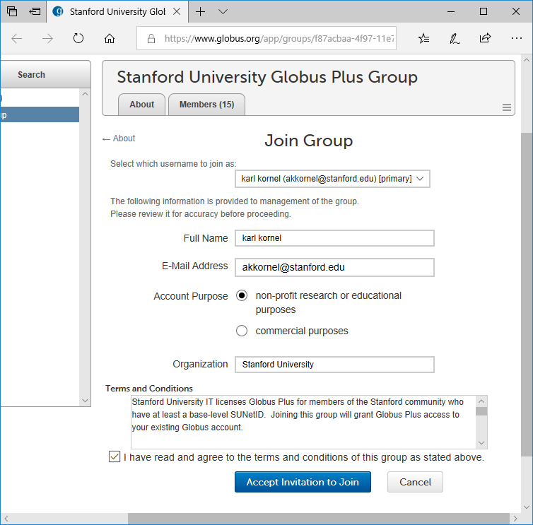 The Globus web site, showing the Groups page, and displaying a screen asking the user to confirm that they want to join a group.