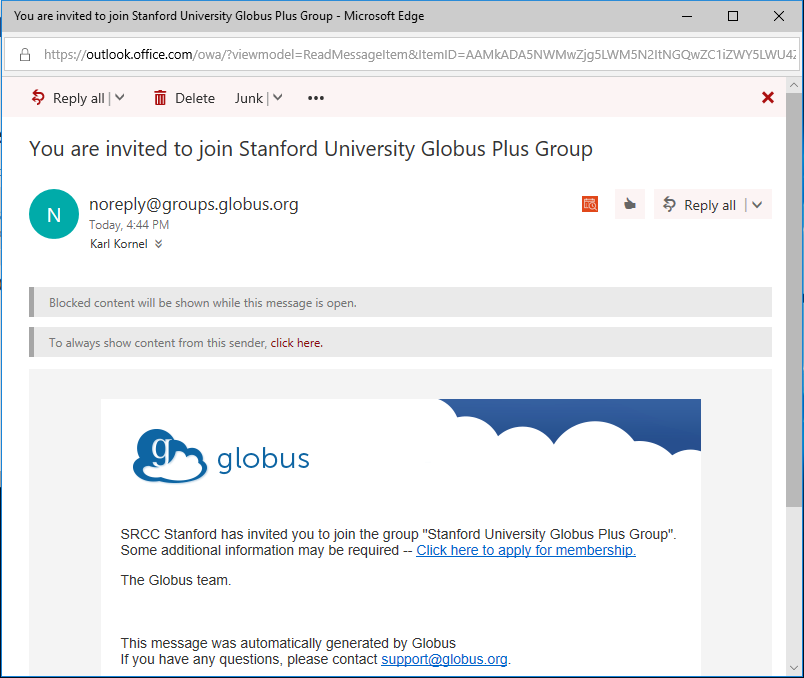 Part of an email from Globus, inviting the recipient to join the 'Stanford University Globus Plus Group'