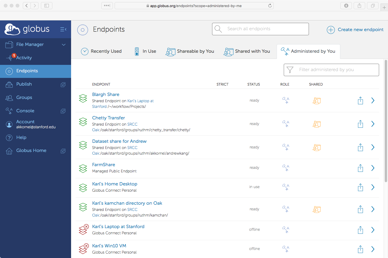 Globus 'Endpoints' page, showing endpoints you administer