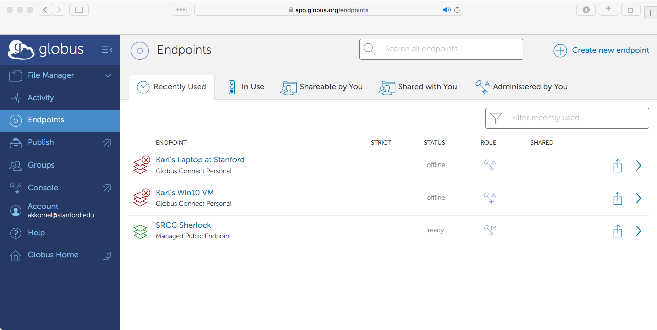 Globus 'Endpoints' page, showing recently-used endpoints